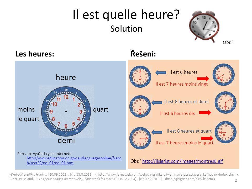 Il est quelle heure? Solution Obr. 1 Les heures: heure moinsquart le quart demi Pozn. lze využít hry na internetu: http://www.education.vic.gov.au/lan