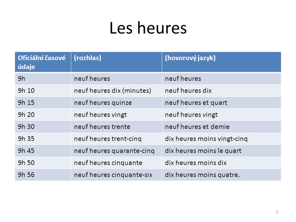 Les heures Oficiální časové údaje (rozhlas)(hovorový jazyk) 9hneuf heures 9h 10neuf heures dix (minutes)neuf heures dix 9h 15neuf heures quinzeneuf he