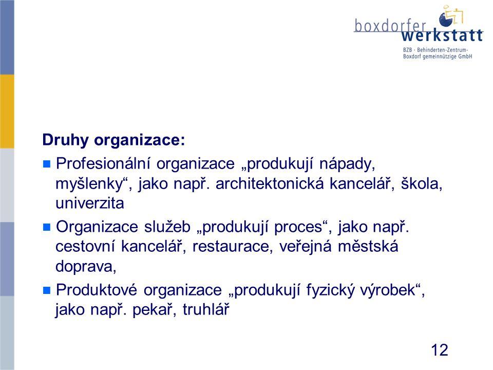 """Druhy organizace: n n Profesionální organizace """"produkují nápady, myšlenky"""", jako např. architektonická kancelář, škola, univerzita n n Organizace slu"""