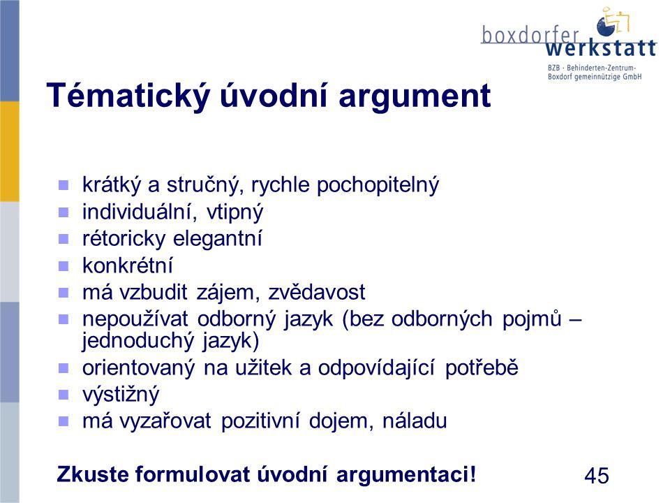 Tématický úvodní argument n n krátký a stručný, rychle pochopitelný n n individuální, vtipný n n rétoricky elegantní n n konkrétní n n má vzbudit záje