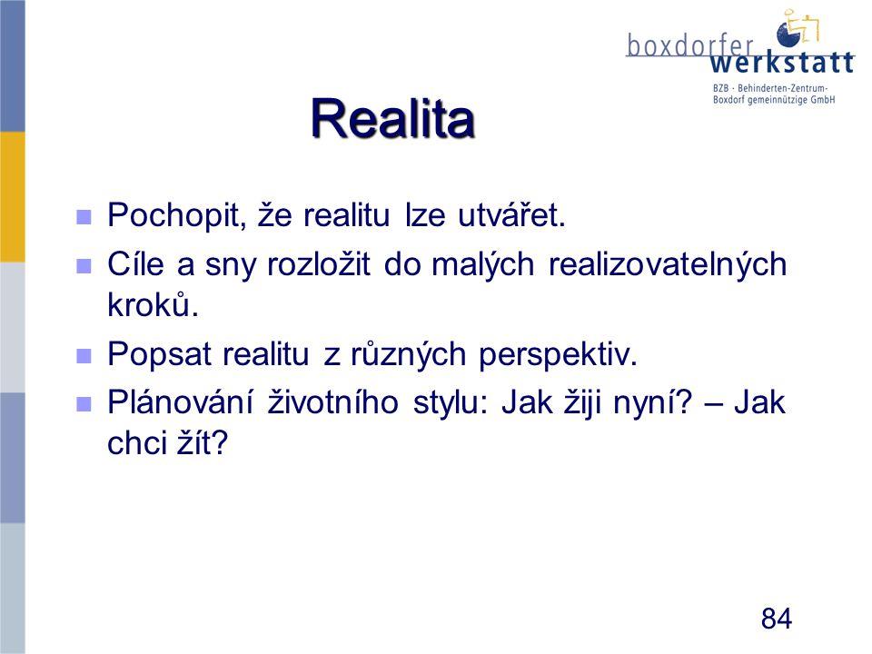 Realita n n Pochopit, že realitu lze utvářet. n n Cíle a sny rozložit do malých realizovatelných kroků. n n Popsat realitu z různých perspektiv. n n P