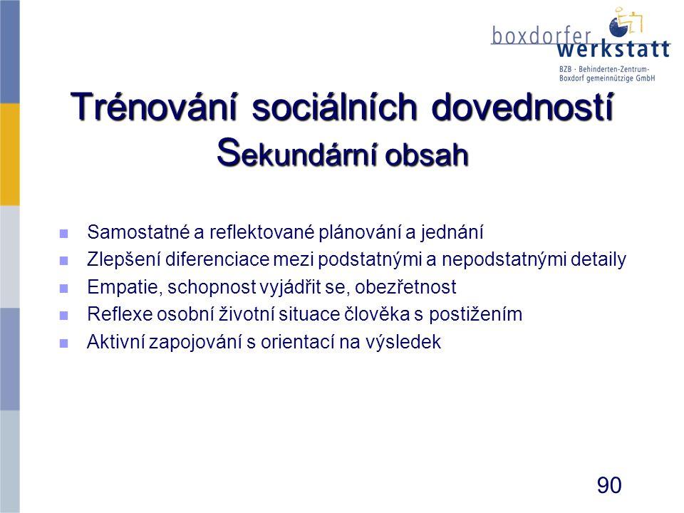 Trénování sociálních dovedností S ekundární obsah n n Samostatné a reflektované plánování a jednání n n Zlepšení diferenciace mezi podstatnými a nepod