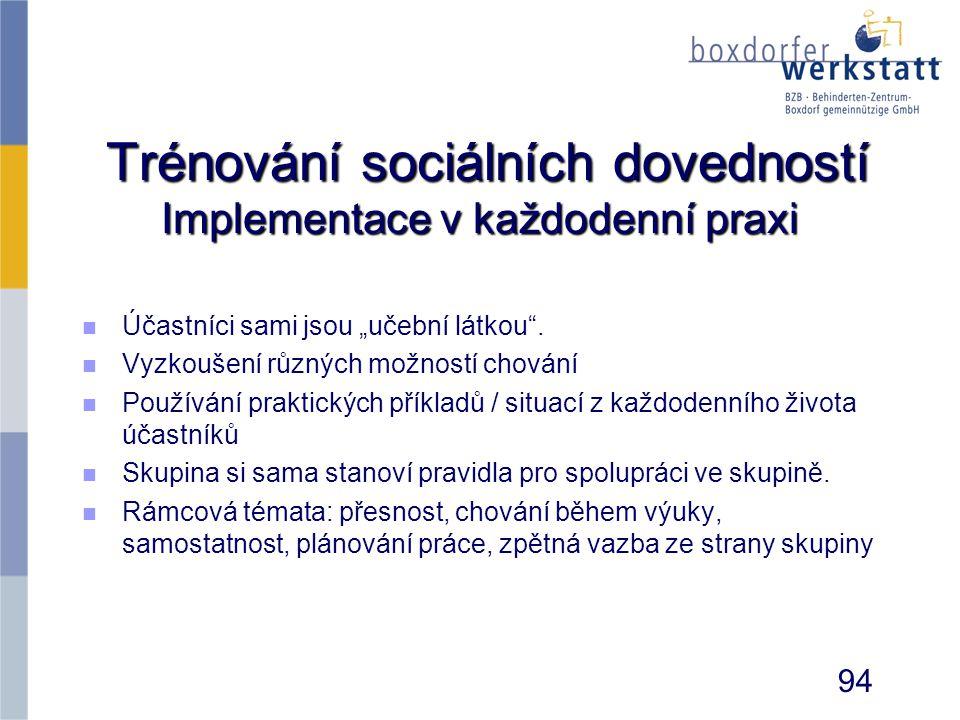 Trénování sociálních dovedností Implementace v každodenní praxi Trénování sociálních dovedností Implementace v každodenní praxi n n Účastníci sami jso
