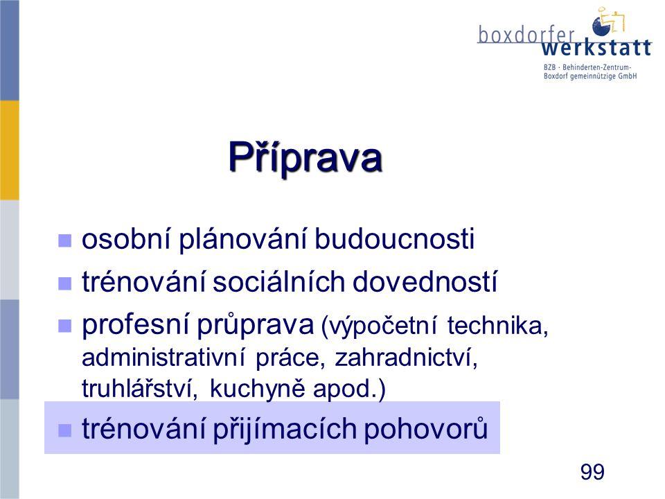 Příprava n n osobní plánování budoucnosti n n trénování sociálních dovedností n n profesní průprava (výpočetní technika, administrativní práce, zahrad