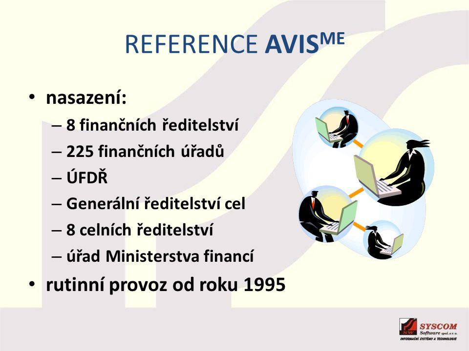 REFERENCE AVIS ME nasazení: – 8 finančních ředitelství – 225 finančních úřadů – ÚFDŘ – Generální ředitelství cel – 8 celních ředitelství – úřad Minist