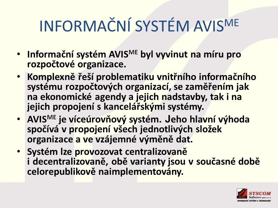 INFORMAČNÍ SYSTÉM AVIS ME Informační systém AVIS ME byl vyvinut na míru pro rozpočtové organizace. Komplexně řeší problematiku vnitřního informačního
