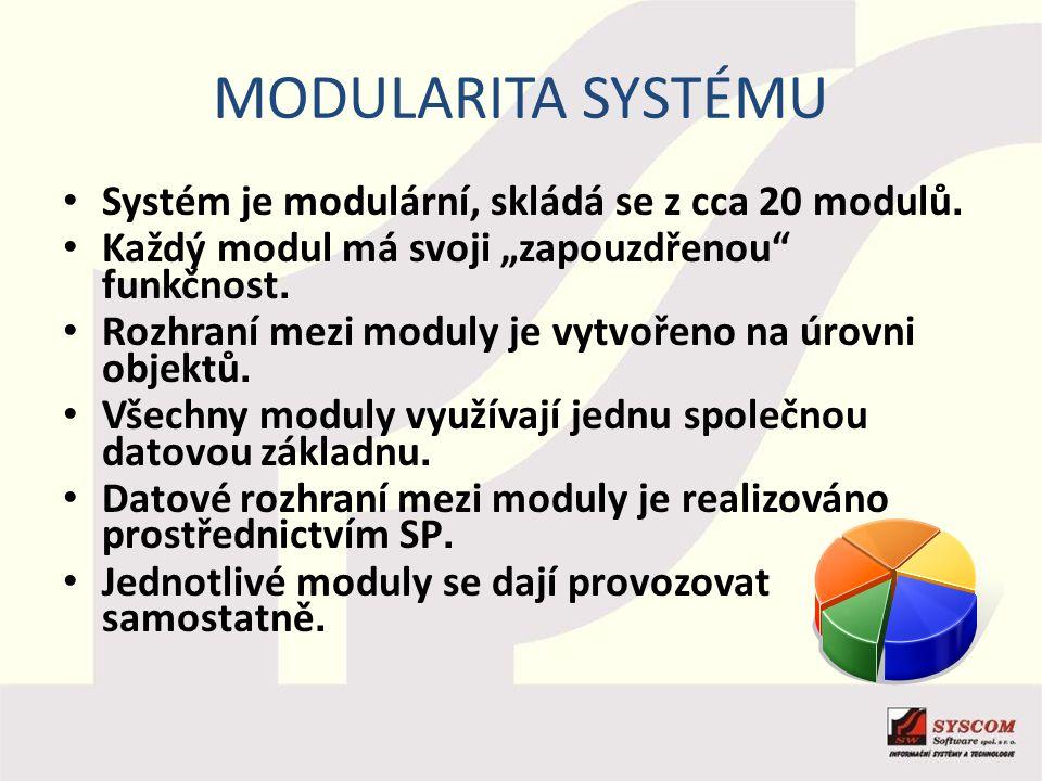 """MODULARITA SYSTÉMU Systém je modulární, skládá se z cca 20 modulů. Každý modul má svoji """"zapouzdřenou"""" funkčnost. Rozhraní mezi moduly je vytvořeno na"""