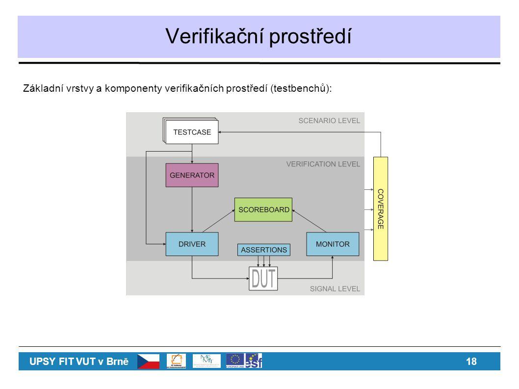 Verifikační prostředí Základní vrstvy a komponenty verifikačních prostředí (testbenchů): UPSY FIT VUT v Brně 18