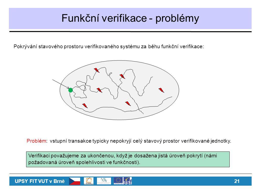 Funkční verifikace - problémy Pokrývání stavového prostoru verifikovaného systému za běhu funkční verifikace: Problém:vstupní transakce typicky nepokryjí celý stavový prostor verifikované jednotky.