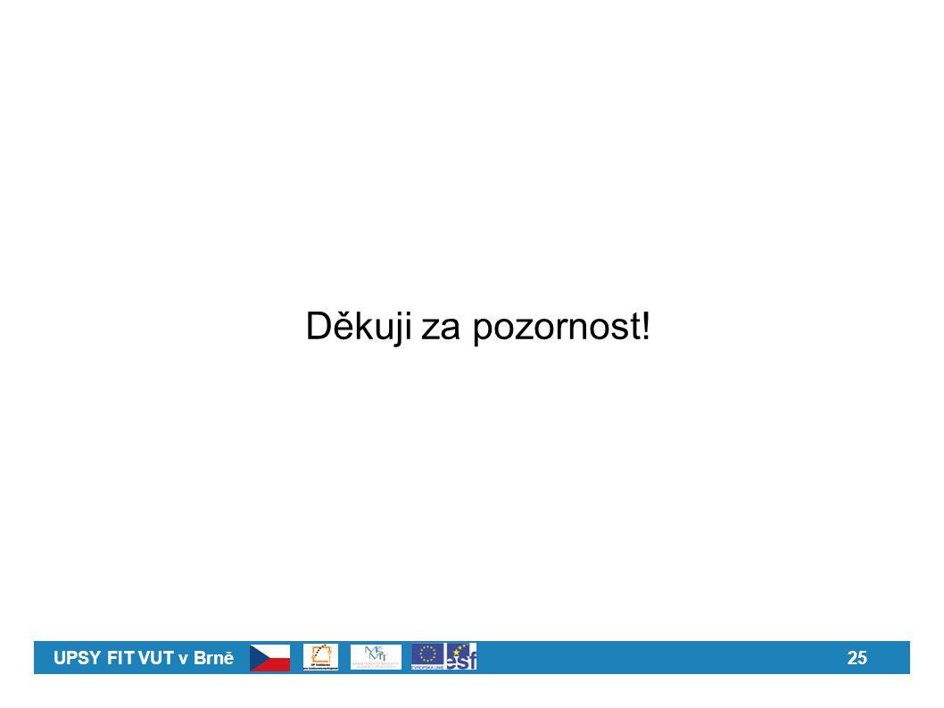 UPSY FIT VUT v Brně25 Děkuji za pozornost!