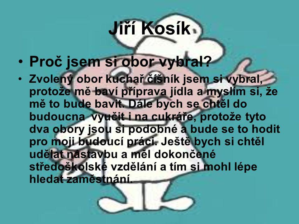 Jiří Kosík Proč jsem si obor vybral? Zvolený obor kuchař číšník jsem si vybral, protože mě baví příprava jídla a myslím si, že mě to bude bavit. Dále