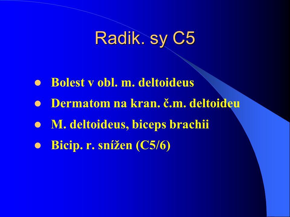 Radik.sy C5 Bolest v obl. m. deltoideus Dermatom na kran.