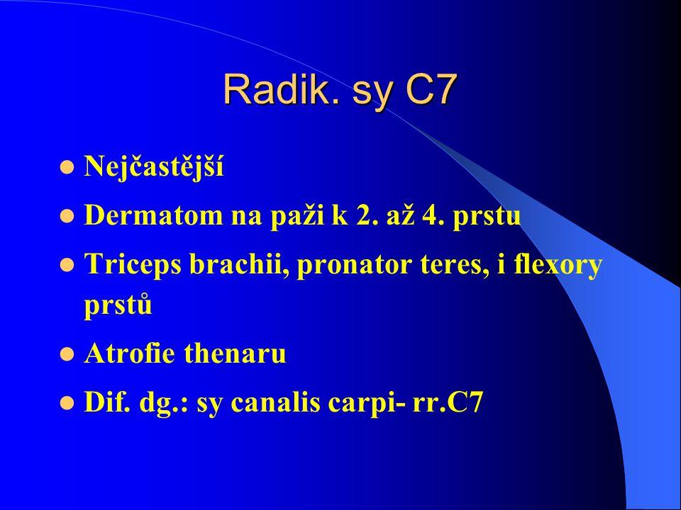 Radik.sy C7 Nejčastější Dermatom na paži k 2. až 4.