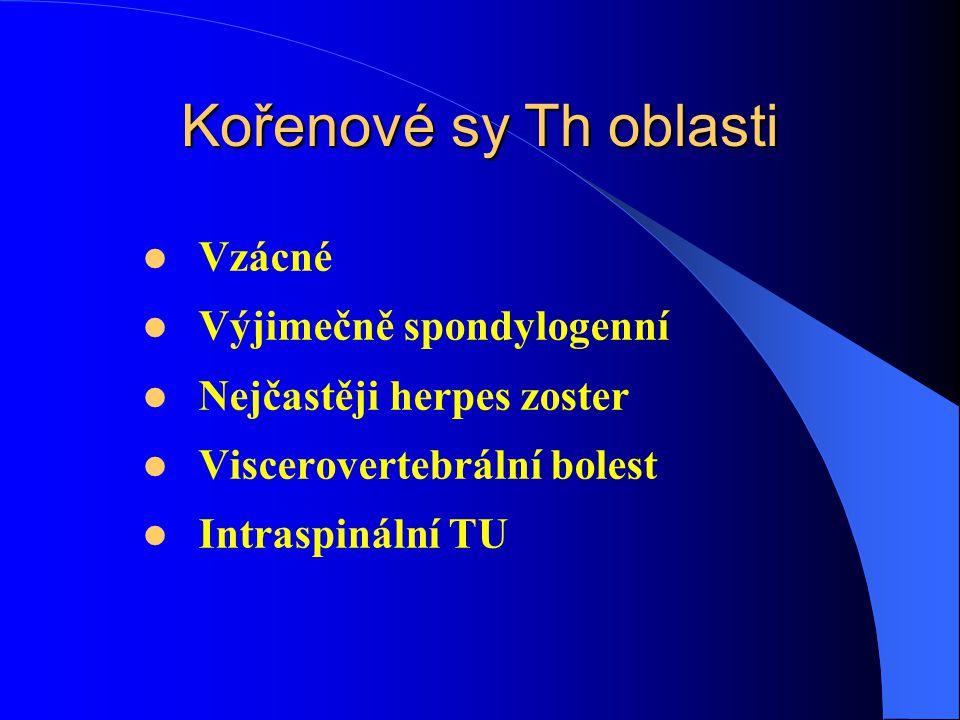 Kořenové sy Th oblasti Vzácné Výjimečně spondylogenní Nejčastěji herpes zoster Viscerovertebrální bolest Intraspinální TU