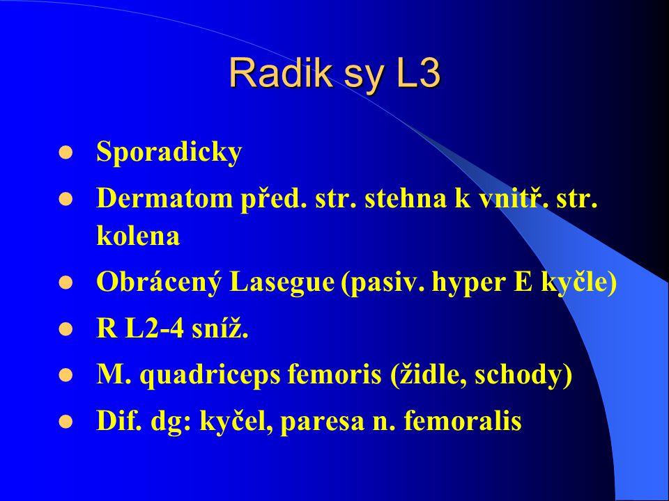 Radik sy L3 Sporadicky Dermatom před.str. stehna k vnitř.