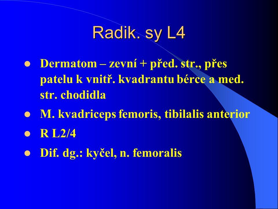Radik.sy L4 Dermatom – zevní + před. str., přes patelu k vnitř.