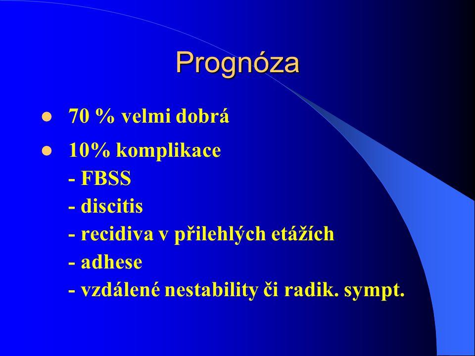 Prognóza 70 % velmi dobrá 10% komplikace - FBSS - discitis - recidiva v přilehlých etážích - adhese - vzdálené nestability či radik.