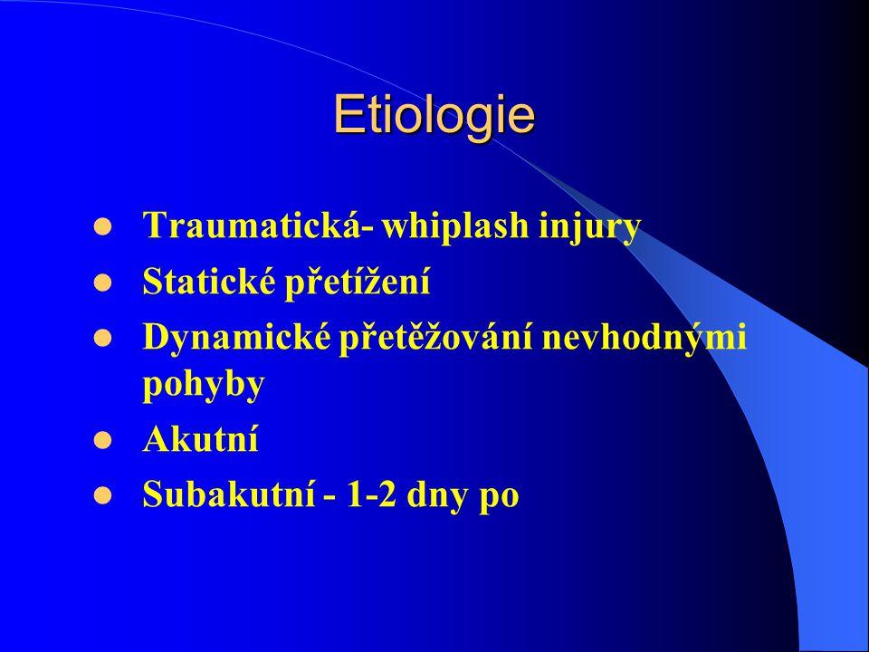 Etiologie Traumatická- whiplash injury Statické přetížení Dynamické přetěžování nevhodnými pohyby Akutní Subakutní - 1-2 dny po