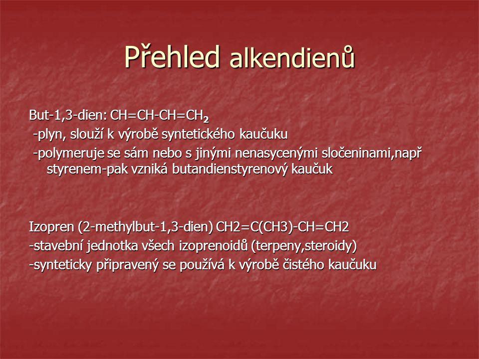 Přehled alkendienů But-1,3-dien: CH=CH-CH=CH 2 -plyn, slouží k výrobě syntetického kaučuku -plyn, slouží k výrobě syntetického kaučuku -polymeruje se