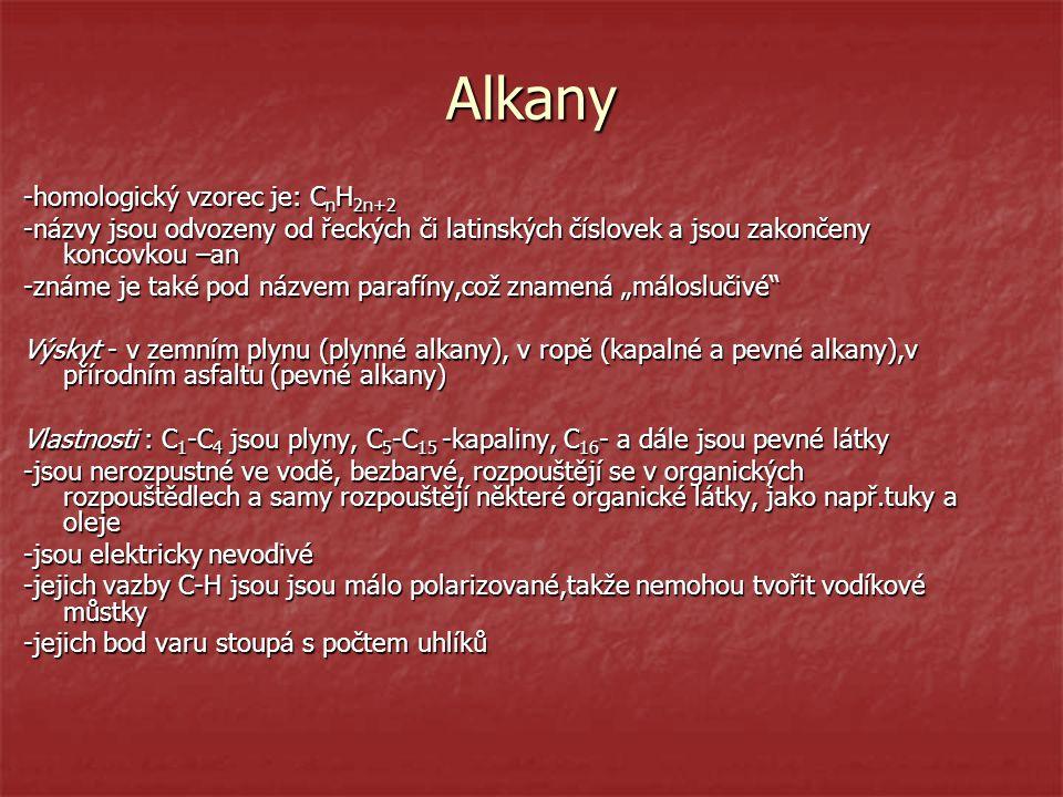 Alkany -homologický vzorec je: C n H 2n+2 -názvy jsou odvozeny od řeckých či latinských číslovek a jsou zakončeny koncovkou –an -známe je také pod náz