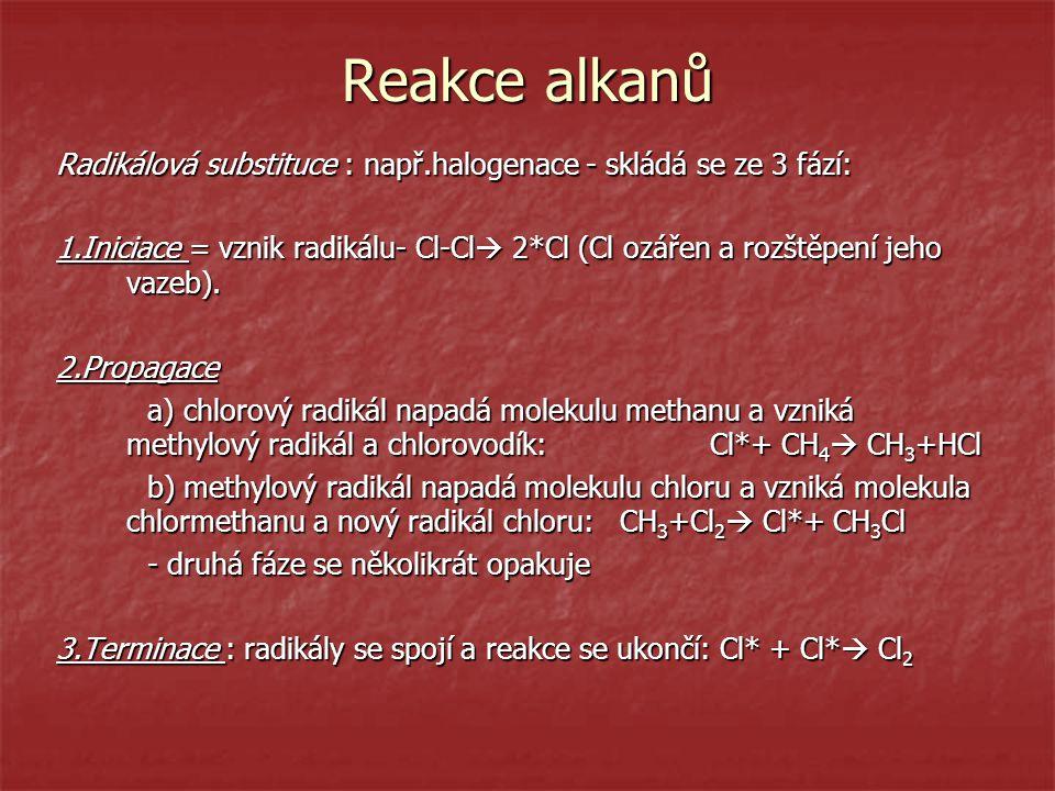 Reakce alkanů Radikálová substituce : např.halogenace - skládá se ze 3 fází: 1.Iniciace = vznik radikálu- Cl-Cl  2*Cl (Cl ozářen a rozštěpení jeho va