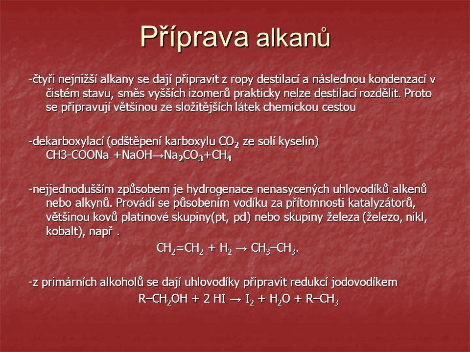 Přehled důležitých alkanů Methan - CH 4 - bezbarvý plyn, je součástí zemního plynu a bioplynu, doprovází ropu -v přírodě vzniká jako bahenní plyn,jeho směs se vzduchem je výbušná -v přírodě vzniká jako bahenní plyn,jeho směs se vzduchem je výbušná - použití: k výrobě velké spousty látek : syntézního plynu: CH 4  CO+H 2 - použití: k výrobě velké spousty látek : syntézního plynu: CH 4  CO+H 2 -k vytápění obytných i průmyslových objektů -k vytápění obytných i průmyslových objektů Ethan - C 2 H 6 slouží jako plynné palivo,v malém množství také obsažen v zemním plynu Propan - C 3 H 8 a butan - C 4 H 10 - jako směsi se společně plní do lahví a používají se na vaření a topení Alkany: C 8  benz í n C 16  nafta,mazac í oleje,sv í čky,kosmetika C 16  nafta,mazac í oleje,sv í čky,kosmetika