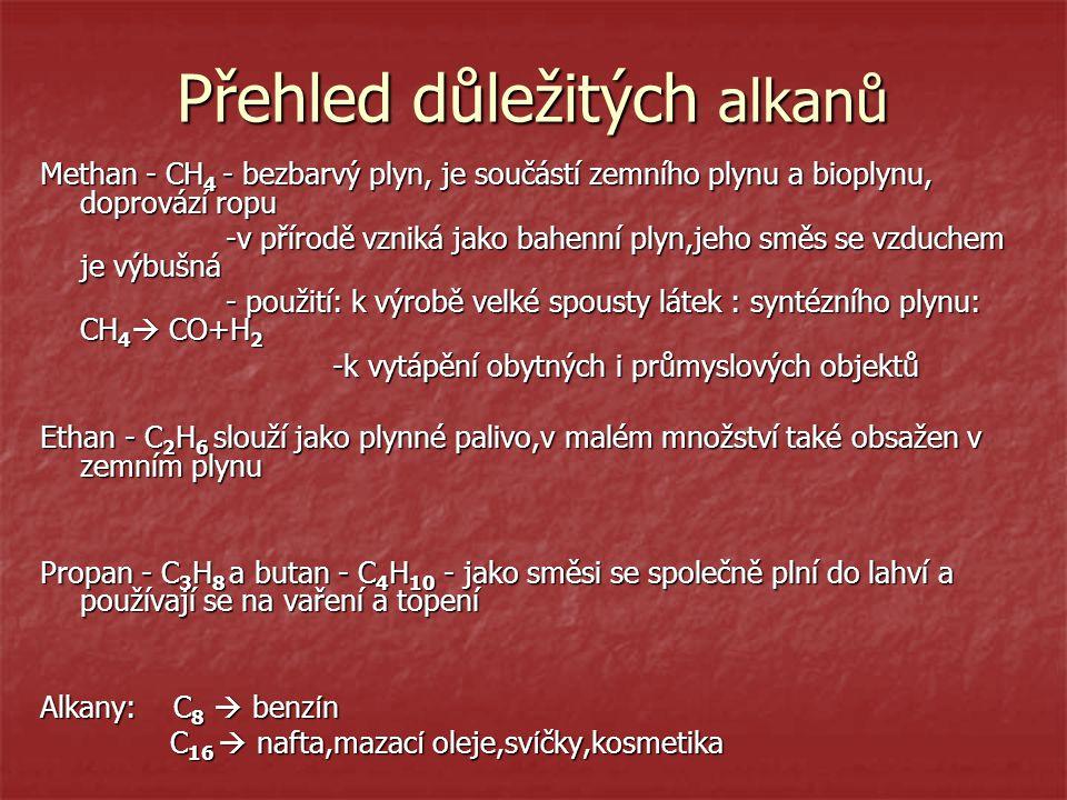 Přehled důležitých alkanů Methan - CH 4 - bezbarvý plyn, je součástí zemního plynu a bioplynu, doprovází ropu -v přírodě vzniká jako bahenní plyn,jeho