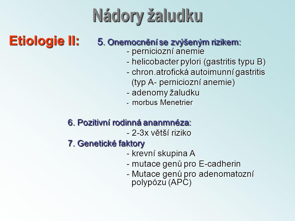 Nádory žaludku Etiologie II: 5. Onemocnění se zvýšeným rizikem: - perniciozní anemie - helicobacter pylori (gastritis typu B) - chron.atrofická autoim