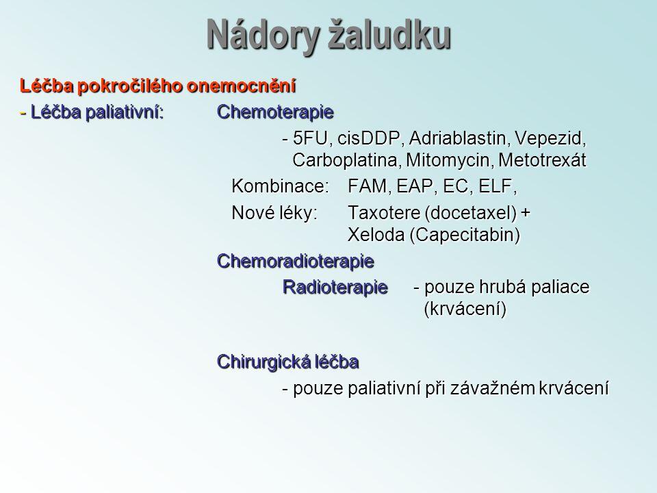 Nádory žaludku Léčba pokročilého onemocnění - Léčba paliativní:Chemoterapie - 5FU, cisDDP, Adriablastin, Vepezid, Carboplatina, Mitomycin, Metotrexát