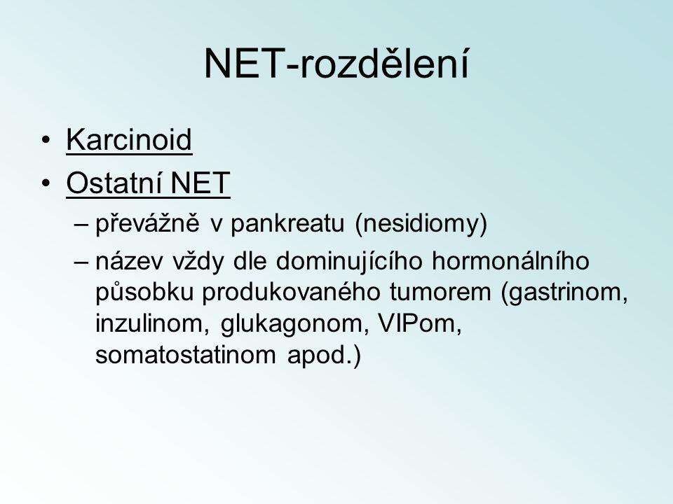 NET-rozdělení Karcinoid Ostatní NET –převážně v pankreatu (nesidiomy) –název vždy dle dominujícího hormonálního působku produkovaného tumorem (gastrin