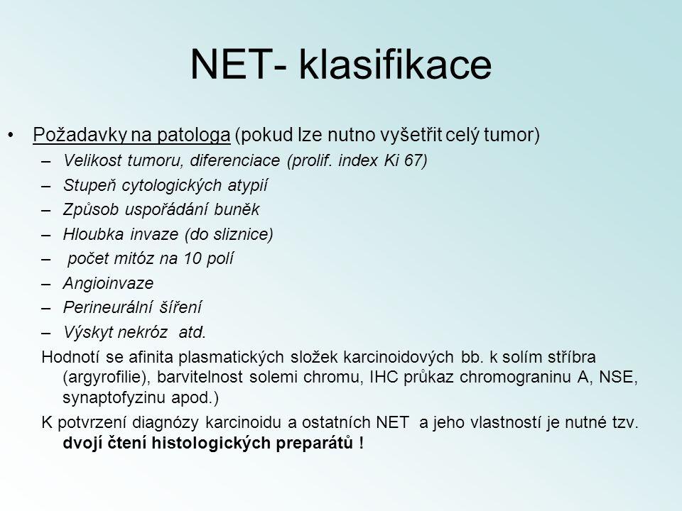 NET- klasifikace Požadavky na patologa (pokud lze nutno vyšetřit celý tumor) –Velikost tumoru, diferenciace (prolif. index Ki 67) –Stupeň cytologickýc