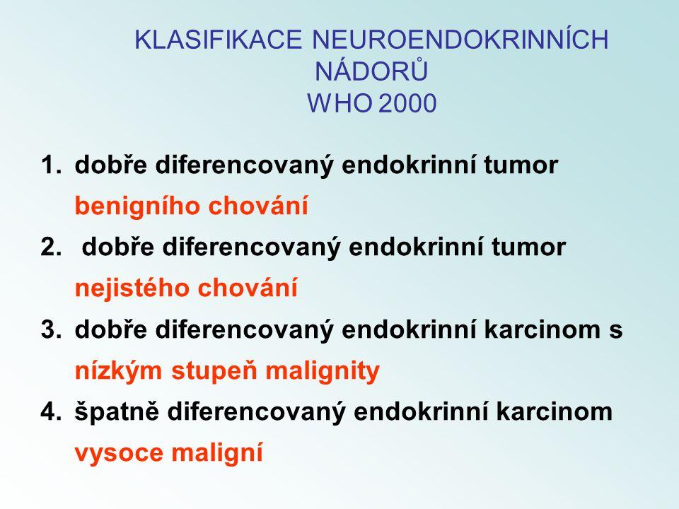 1.dobře diferencovaný endokrinní tumor benigního chování 2. dobře diferencovaný endokrinní tumor nejistého chování 3.dobře diferencovaný endokrinní ka