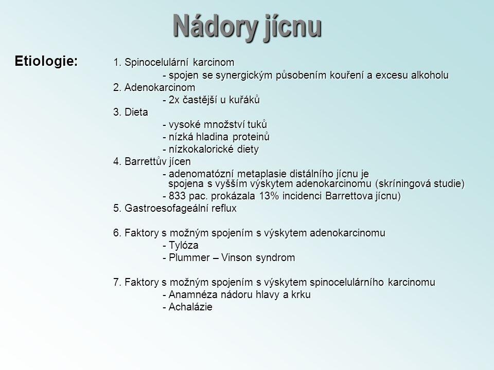 Nádory jícnu Etiologie: 1. Spinocelulární karcinom - spojen se synergickým působením kouření a excesu alkoholu 2. Adenokarcinom - 2x častější u kuřáků