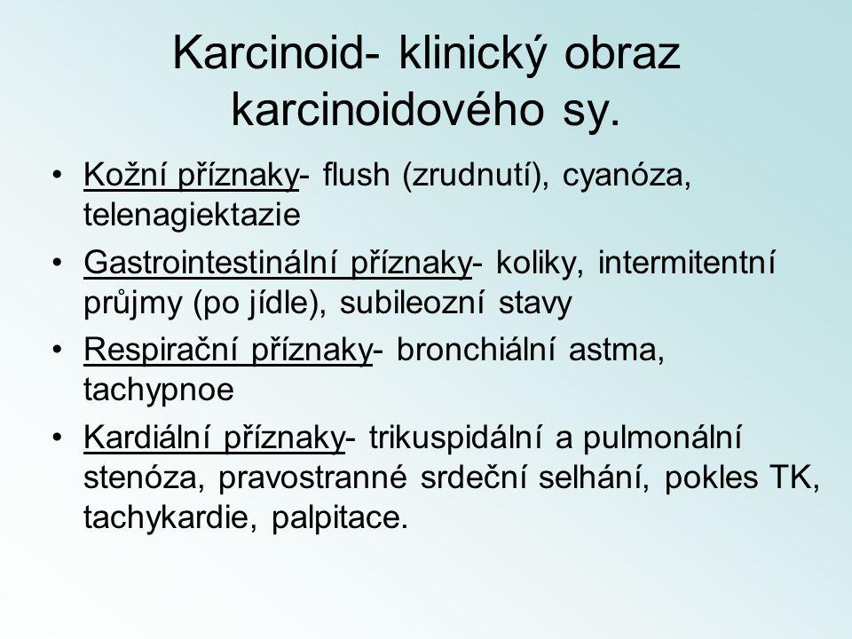Karcinoid- klinický obraz karcinoidového sy. Kožní příznaky- flush (zrudnutí), cyanóza, telenagiektazie Gastrointestinální příznaky- koliky, intermite