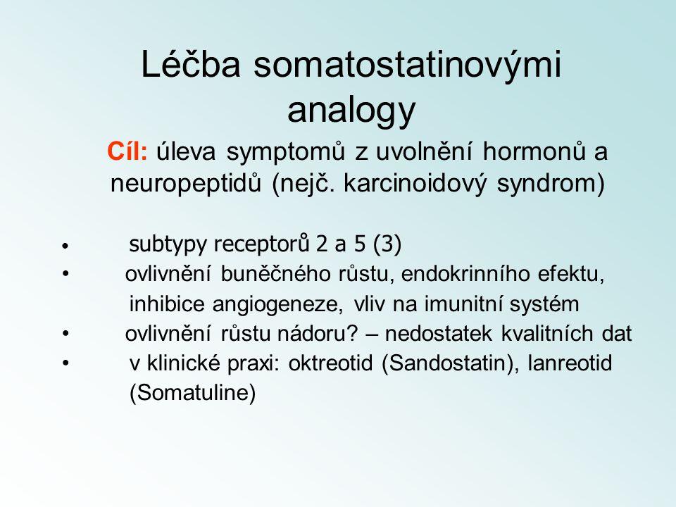 Cíl: úleva symptomů z uvolnění hormonů a neuropeptidů (nejč. karcinoidový syndrom) subtypy receptorů 2 a 5 (3) ovlivnění buněčného růstu, endokrinního