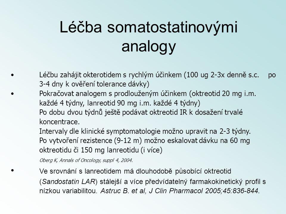 Léčbu zahájit okterotidem s rychlým účinkem (100 ug 2-3x denně s.c. po 3-4 dny k ověření tolerance dávky) Pokračovat analogem s prodlouženým účinkem (
