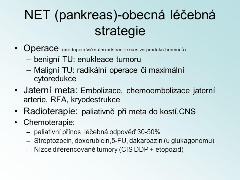 NET (pankreas)-obecná léčebná strategie Operace (předoperačně nutno odstranit excesivní produkci hormonů) –benigní TU: enukleace tumoru –Maligní TU: r
