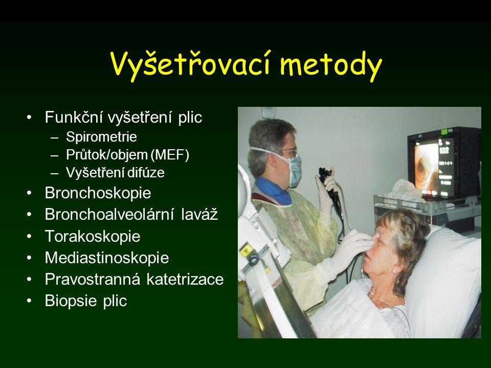 Vyšetřovací metody Funkční vyšetření plic –Spirometrie –Průtok/objem (MEF) –Vyšetření difúze Bronchoskopie Bronchoalveolární laváž Torakoskopie Medias