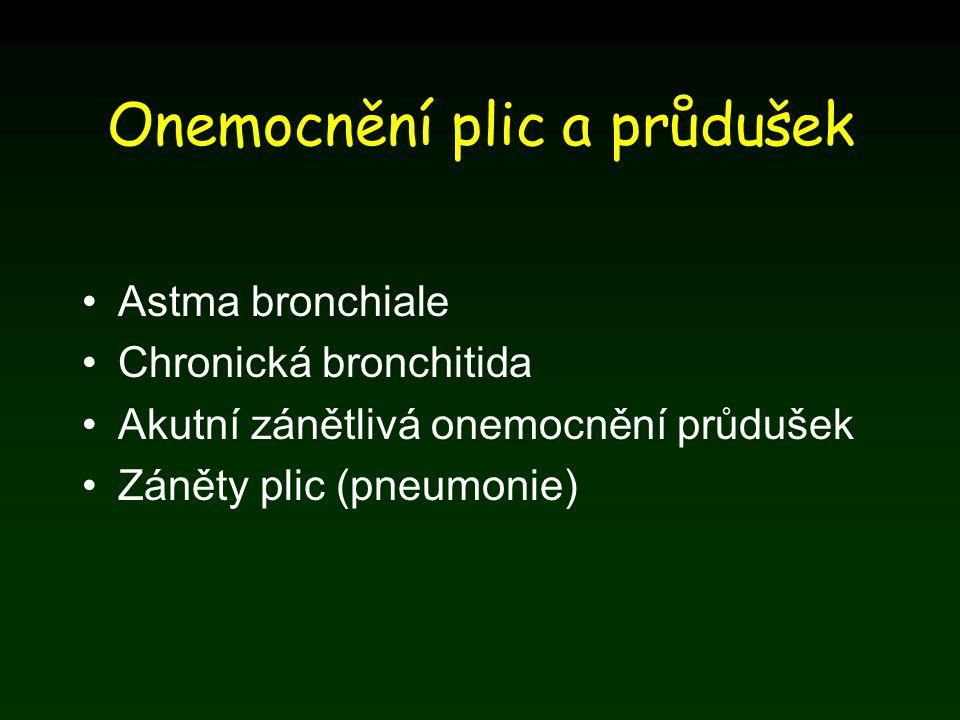 Onemocnění plic a průdušek Astma bronchiale Chronická bronchitida Akutní zánětlivá onemocnění průdušek Záněty plic (pneumonie)