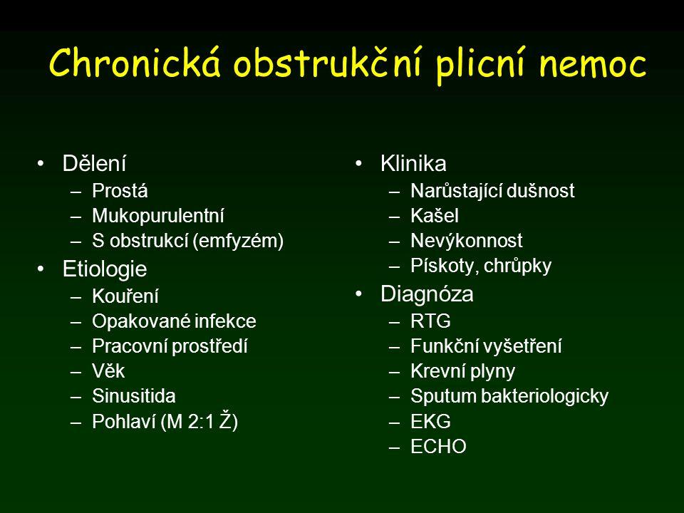 Chronická obstrukční plicní nemoc Dělení –Prostá –Mukopurulentní –S obstrukcí (emfyzém) Etiologie –Kouření –Opakované infekce –Pracovní prostředí –Věk