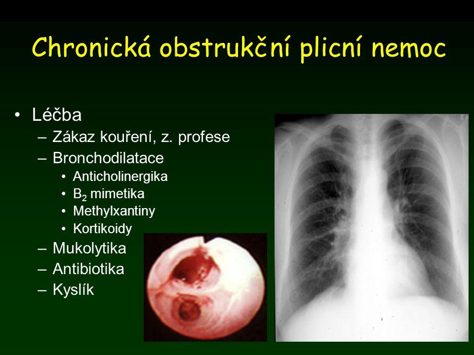 Chronická obstrukční plicní nemoc Léčba –Zákaz kouření, z. profese –Bronchodilatace Anticholinergika Β 2 mimetika Methylxantiny Kortikoidy –Mukolytika