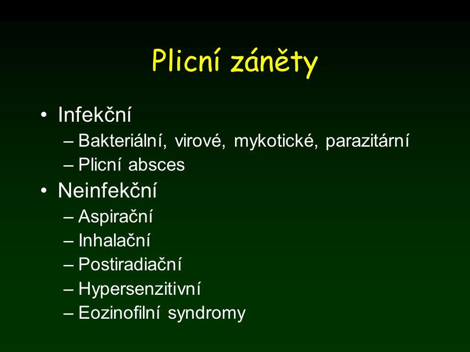 Plicní záněty Infekční –Bakteriální, virové, mykotické, parazitární –Plicní absces Neinfekční –Aspirační –Inhalační –Postiradiační –Hypersenzitivní –E