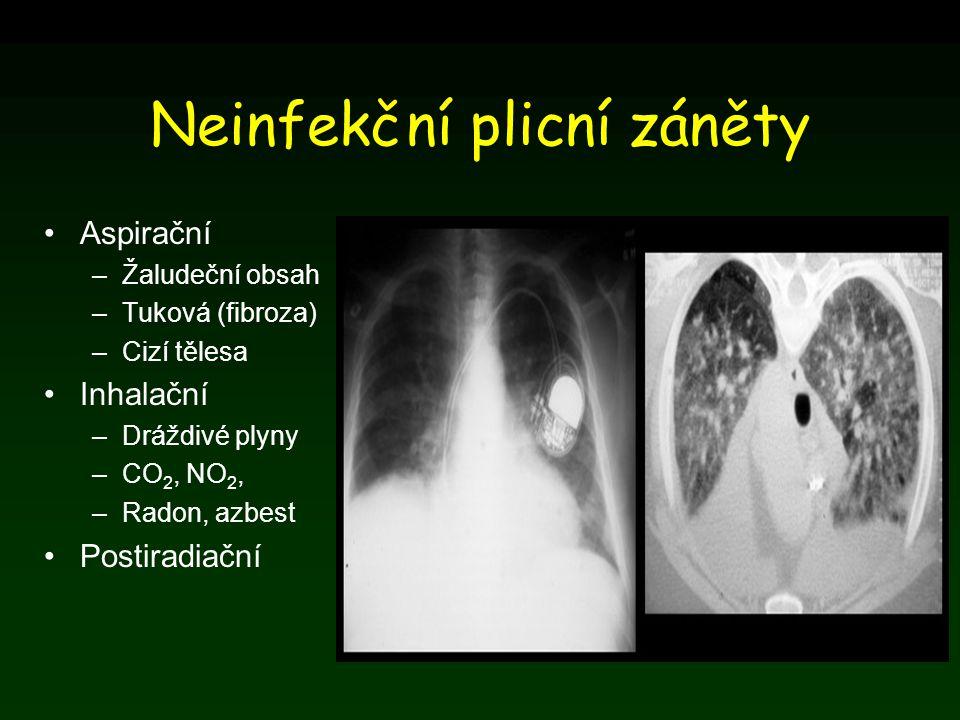 Neinfekční plicní záněty Aspirační –Žaludeční obsah –Tuková (fibroza) –Cizí tělesa Inhalační –Dráždivé plyny –CO 2, NO 2, –Radon, azbest Postiradiační