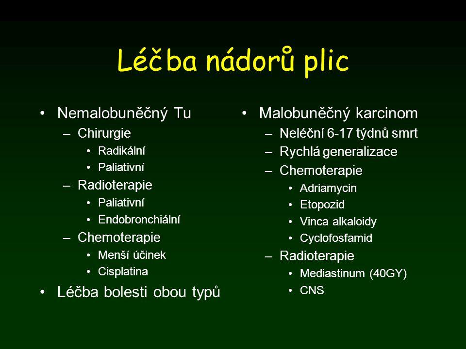 Léčba nádorů plic Nemalobuněčný Tu –Chirurgie Radikální Paliativní –Radioterapie Paliativní Endobronchiální –Chemoterapie Menší účinek Cisplatina Léčb