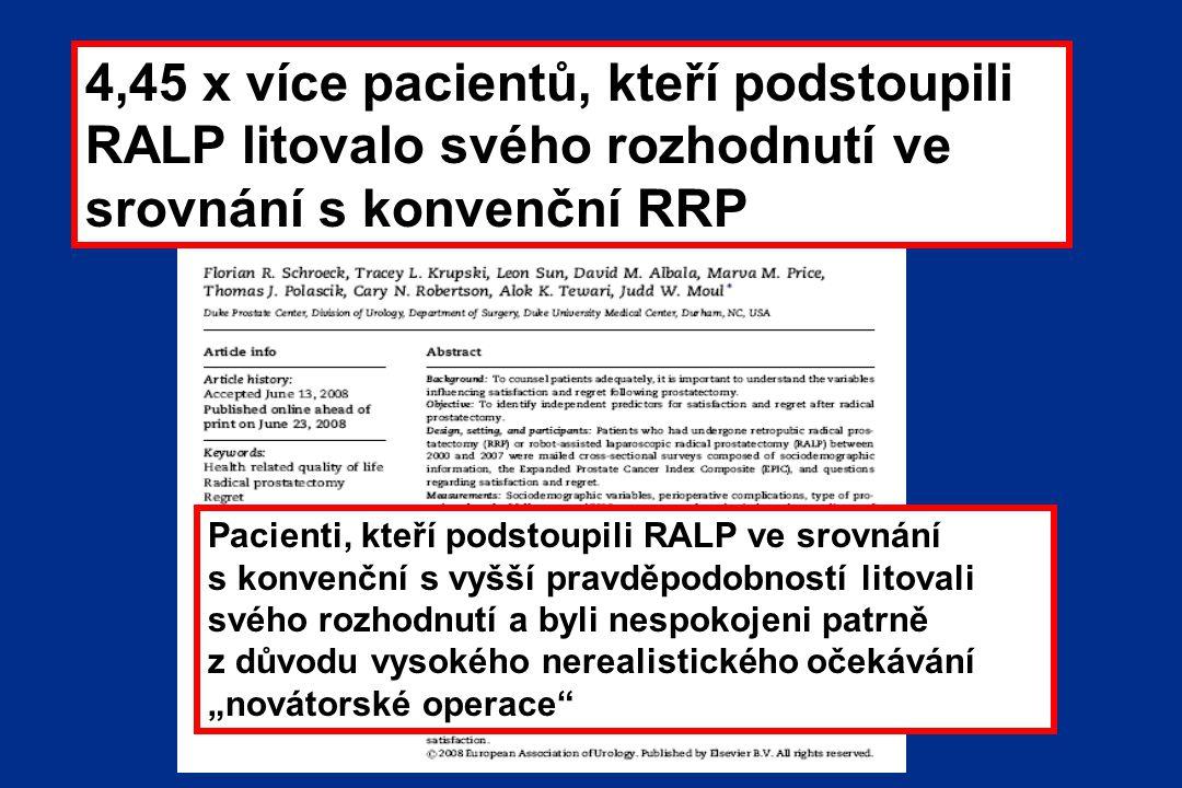 """4,45 x více pacientů, kteří podstoupili RALP litovalo svého rozhodnutí ve srovnání s konvenční RRP Pacienti, kteří podstoupili RALP ve srovnání s konvenční s vyšší pravděpodobností litovali svého rozhodnutí a byli nespokojeni patrně z důvodu vysokého nerealistického očekávání """"novátorské operace"""