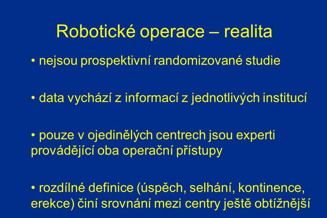 Robotické operace – realita nejsou prospektivní randomizované studie data vychází z informací z jednotlivých institucí pouze v ojedinělých centrech jsou experti provádějící oba operační přístupy rozdílné definice (úspěch, selhání, kontinence, erekce) činí srovnání mezi centry ještě obtížnější