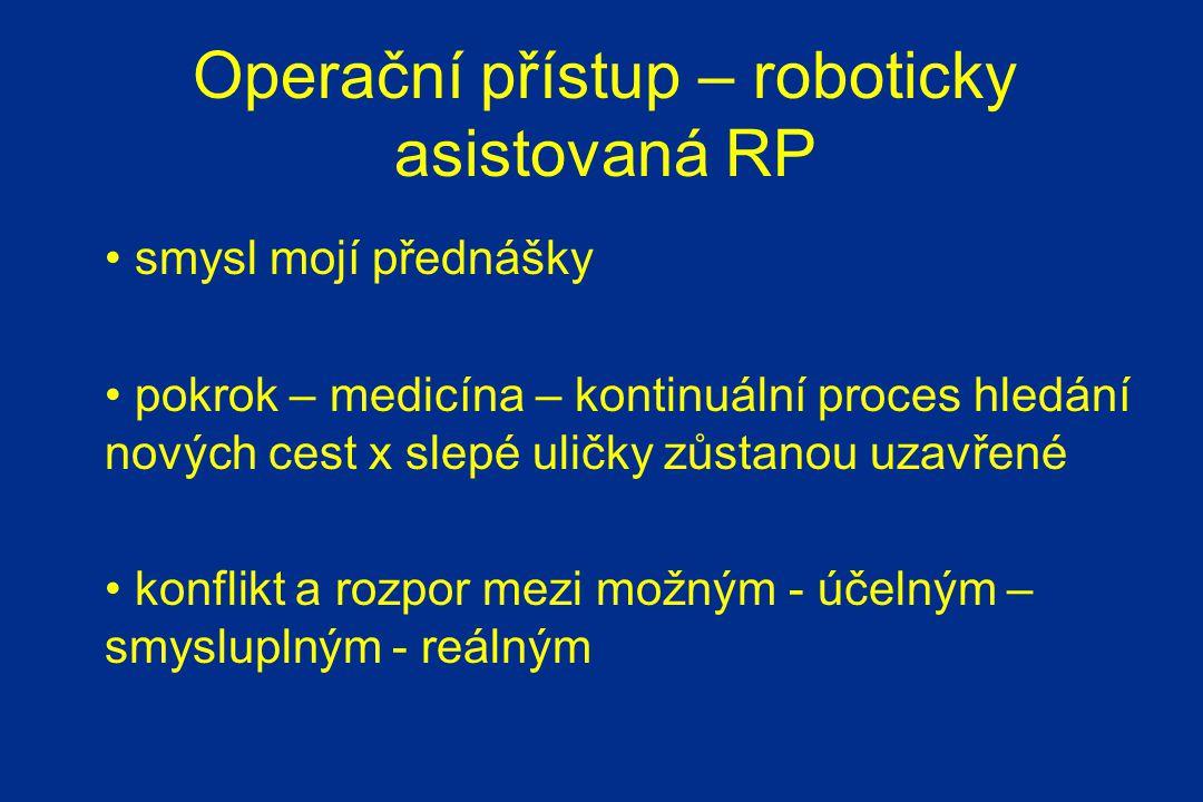 Operační přístup – roboticky asistovaná RP smysl mojí přednášky pokrok – medicína – kontinuální proces hledání nových cest x slepé uličky zůstanou uzavřené konflikt a rozpor mezi možným - účelným – smysluplným - reálným