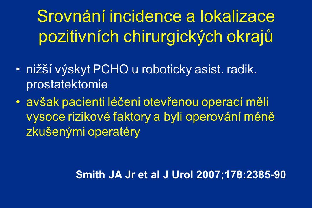 Srovnání incidence a lokalizace pozitivních chirurgických okrajů nižší výskyt PCHO u roboticky asist.