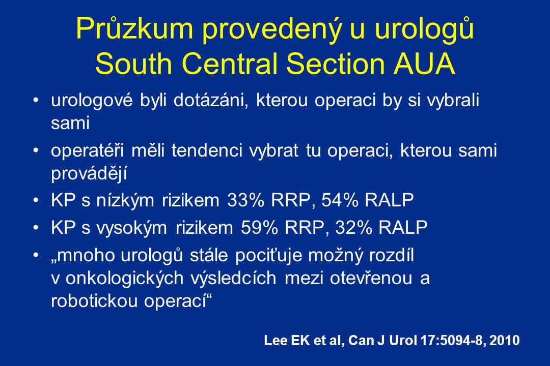 """Průzkum provedený u urologů South Central Section AUA urologové byli dotázáni, kterou operaci by si vybrali sami operatéři měli tendenci vybrat tu operaci, kterou sami provádějí KP s nízkým rizikem 33% RRP, 54% RALP KP s vysokým rizikem 59% RRP, 32% RALP """"mnoho urologů stále pociťuje možný rozdíl v onkologických výsledcích mezi otevřenou a robotickou operací Lee EK et al, Can J Urol 17:5094-8, 2010"""
