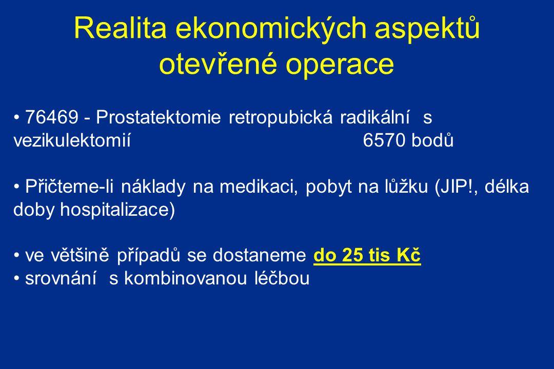 Realita ekonomických aspektů otevřené operace 76469 - Prostatektomie retropubická radikální s vezikulektomií 6570 bodů Přičteme-li náklady na medikaci, pobyt na lůžku (JIP!, délka doby hospitalizace) ve většině případů se dostaneme do 25 tis Kč srovnání s kombinovanou léčbou